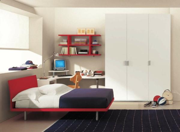 jugendzimmermöbel jungenzimmer rotes bett dunkelblauer teppich