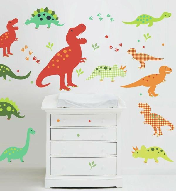 kinderzimmer wände verschönern farbige tiere aufkleben