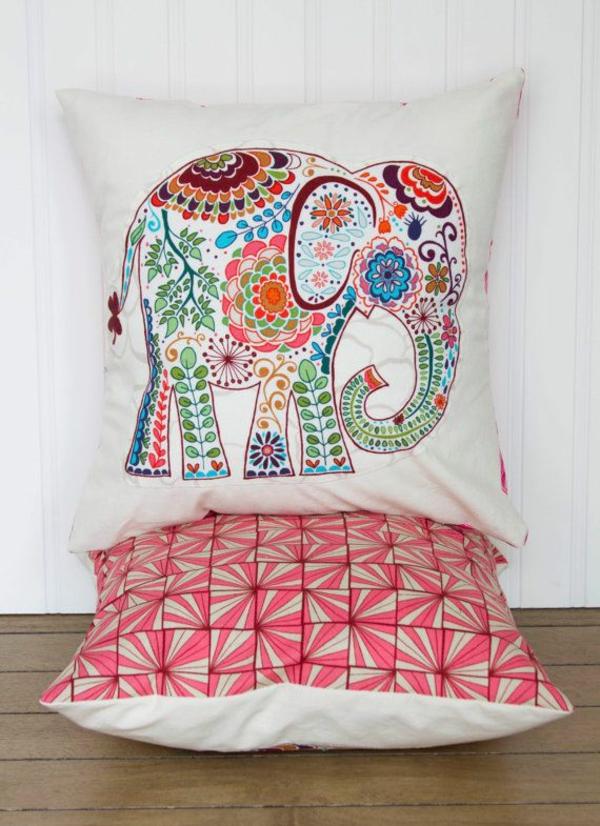 kissenbezüge basteln farben interessant kissen deko elefanten