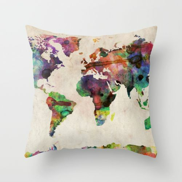kissenbezüge basteln farben interessant kissen deko kontinenten