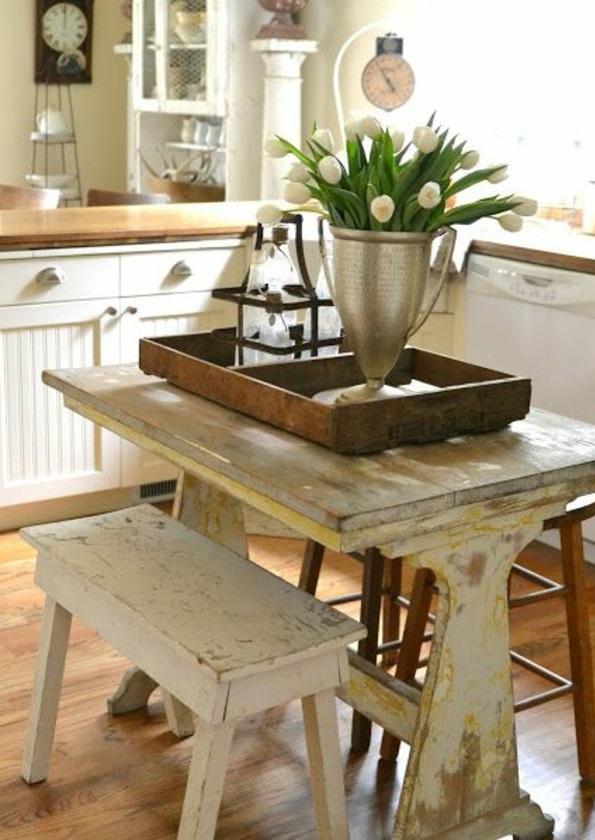 kleine küche einrichten rustikal gestalten essecke
