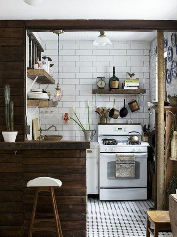 kleine küche rustikal gestalten kochherd