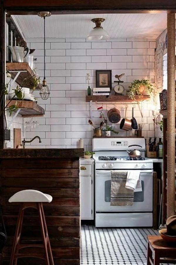 kleine küche einrichten rustikal gestalten kompakt