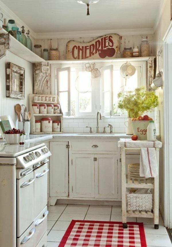kleine küche rustikal gestalten teppich