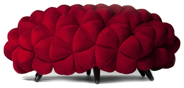 kleines modernes sofa ottomane rot
