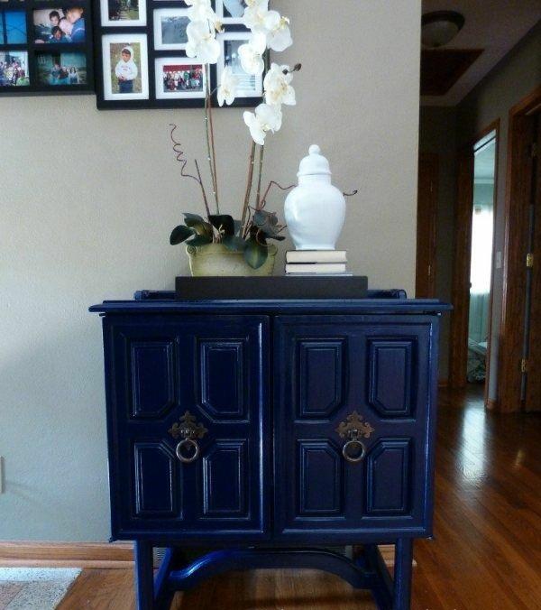 holz farben acryllack möbel kommode blau