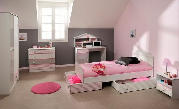 mädchenzimmer rosa wandgestaltung runder kleiner teppich