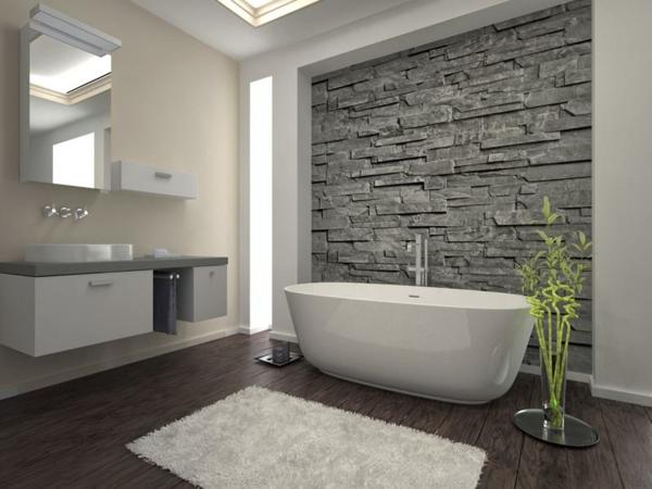 mauersteine naturstein wandgestaltung badewanne
