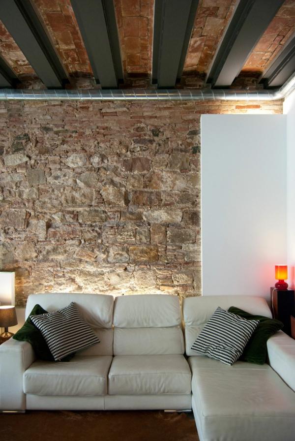 mauersteine naturstein wandgestaltung beleuchtung indirekt