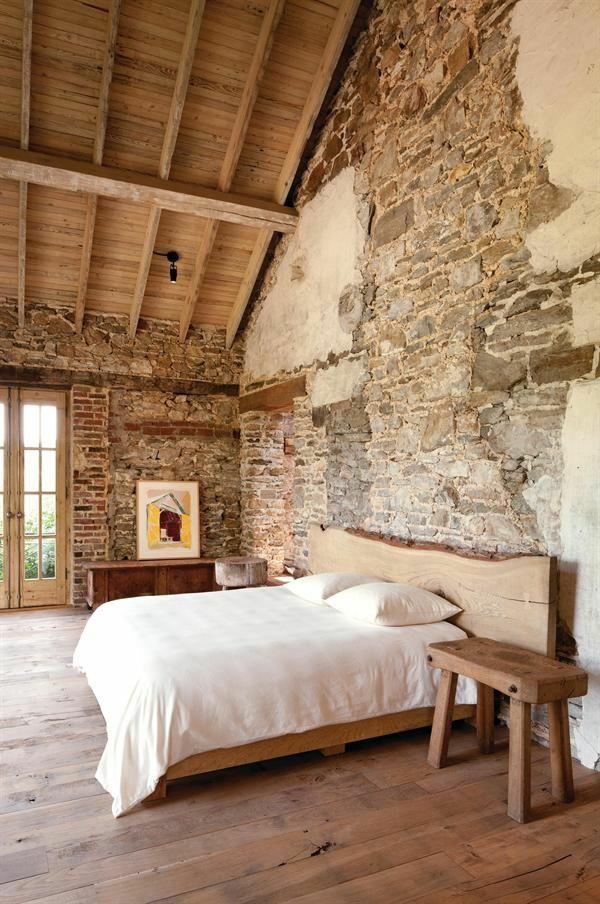 naturstein wandgestaltung schlafzimmer bett