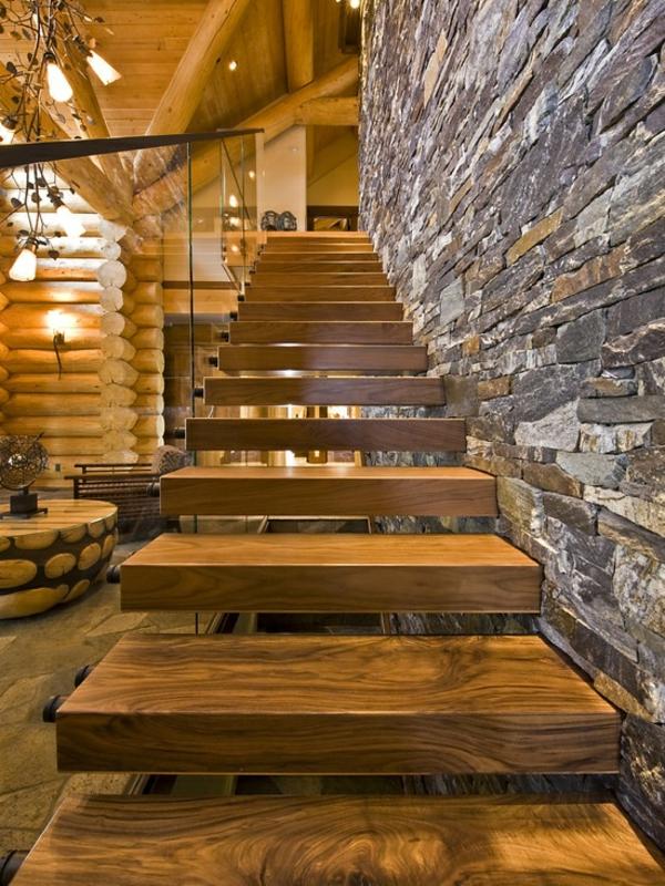 naturstein wandgestaltung treppe holz