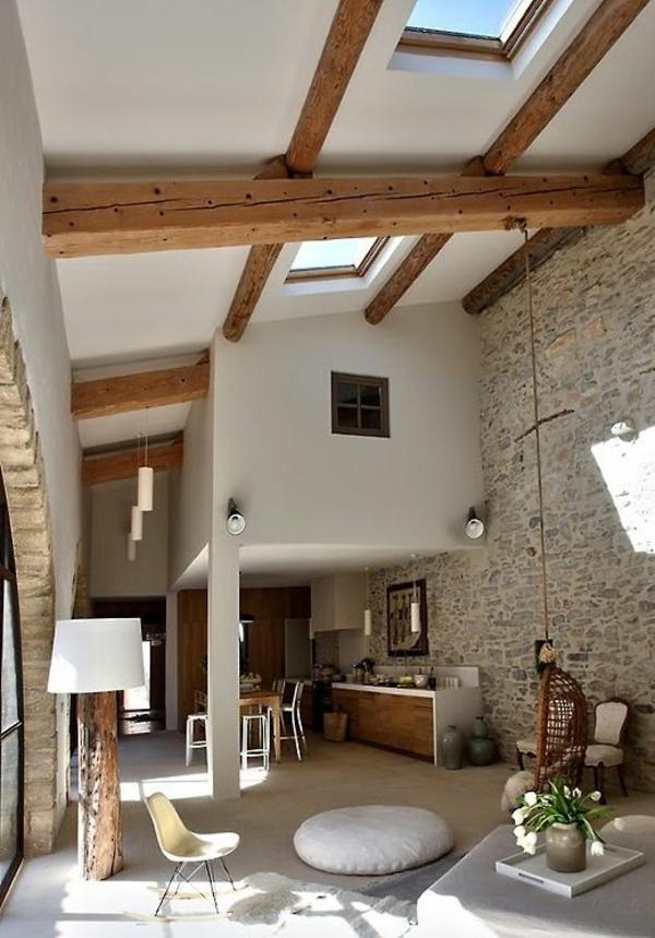 mauersteine naturstein dachfenster wandgestaltung wohnzimmer