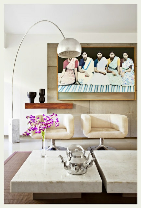 moderne kunst stehlampe silber indien
