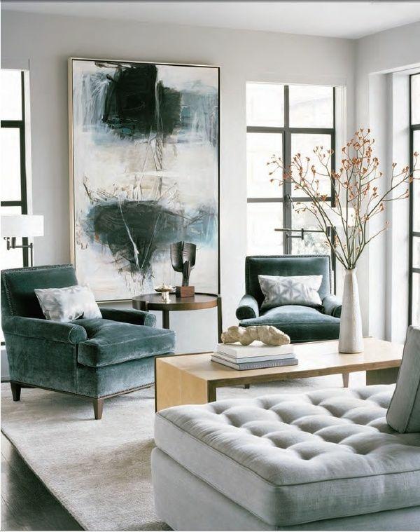 Moderne Kunst Wohnzimmer Grau Sofa Zeitgenössische Malerei ...