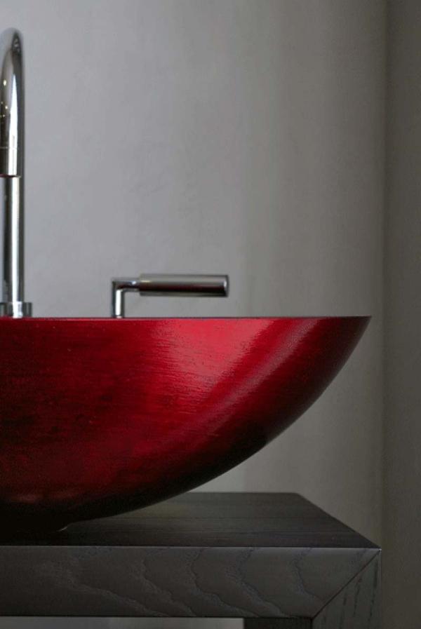 moderne waschbecken rotes design badezimmer einrichten