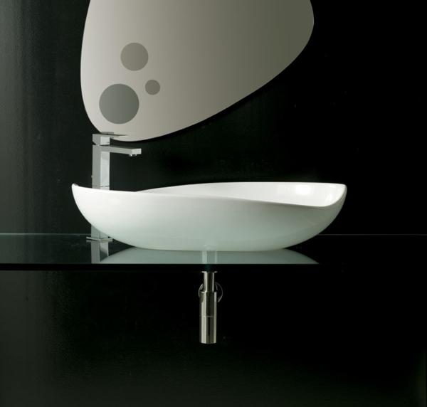 moderne waschbecken weiß design glasplatte