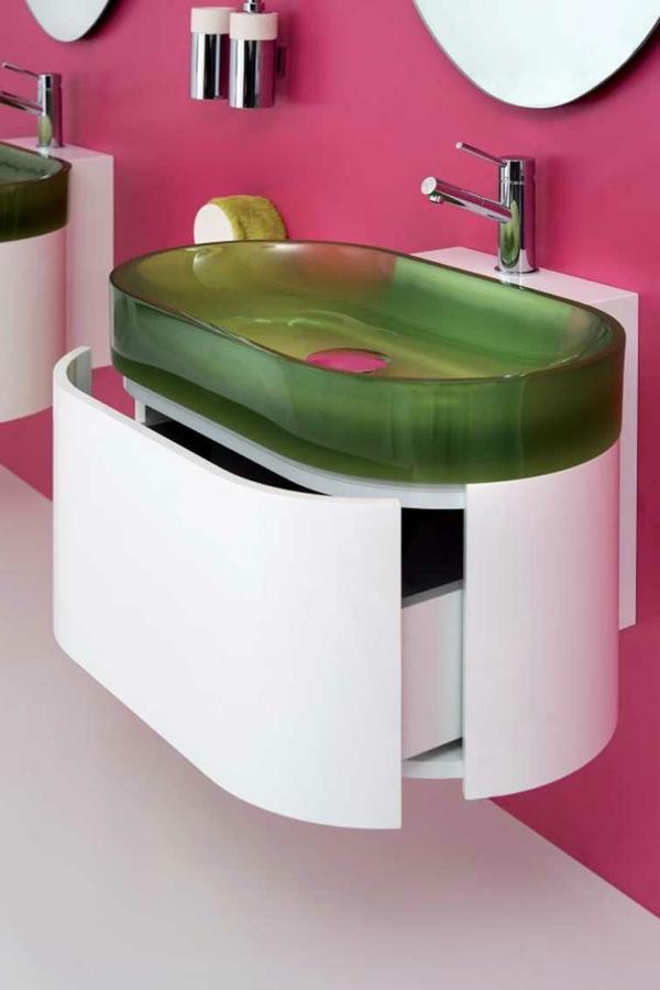 modernes badezimmer grünes waschbecken weißer unterschrank