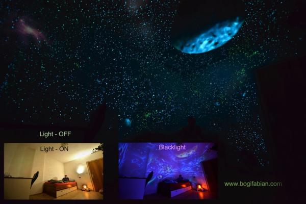 fluoreszierende farbe wandmalerei mit nachtleuchtenden farben. Black Bedroom Furniture Sets. Home Design Ideas