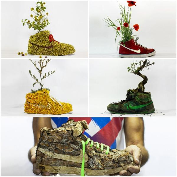 nachhaltige garten kunst skulpturen pflanzen, nachhaltiges design von christophe guinet - nike snaekers aus pflanzen, Design ideen