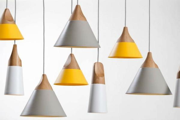 hängeleuchte hängelampen design gelb weiß holztextur