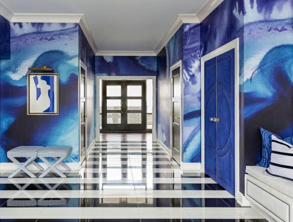 penthaus wohnung modern blau hell marmor bodenbelag