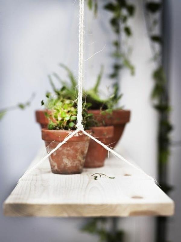 pflegeleichte Balkonpflanzen hängend holzplatten