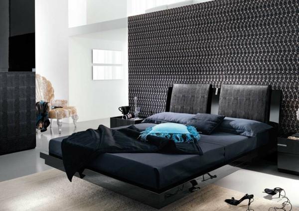 komplett schlafzimmer günstig modern gestalten schwarz