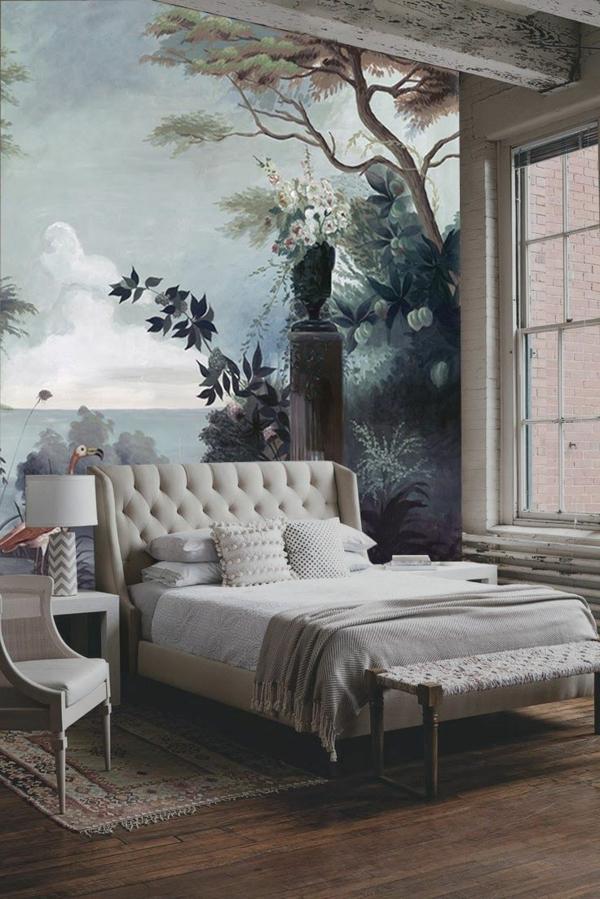 schlafzimmer natur muster komplett günstig modern gestalten tapeten