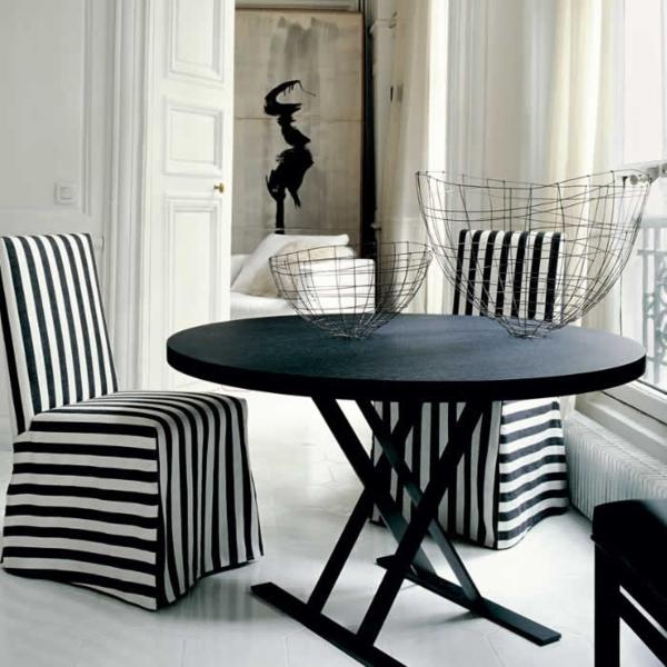 schwarz weiß streifen Möbel italienischer Stil Antonio Citterio
