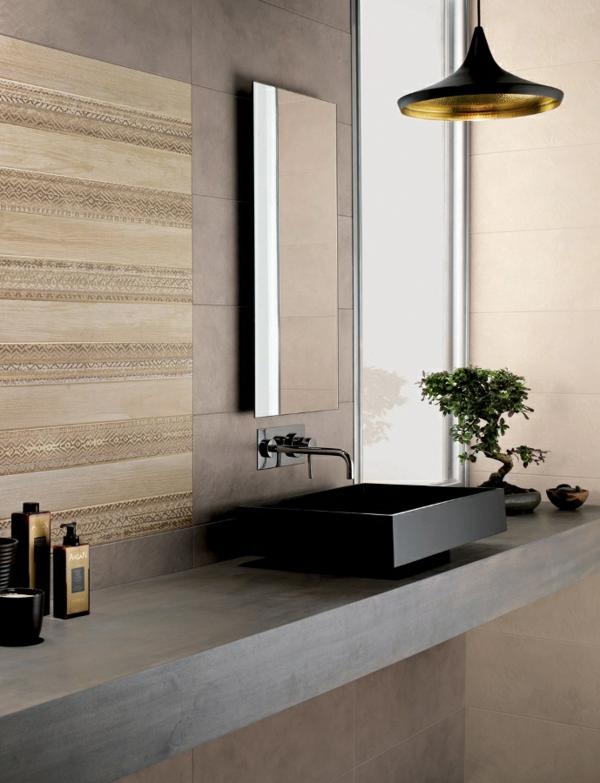 schwarzes waschbecken modernes badezimmer hängelampe badspiegel