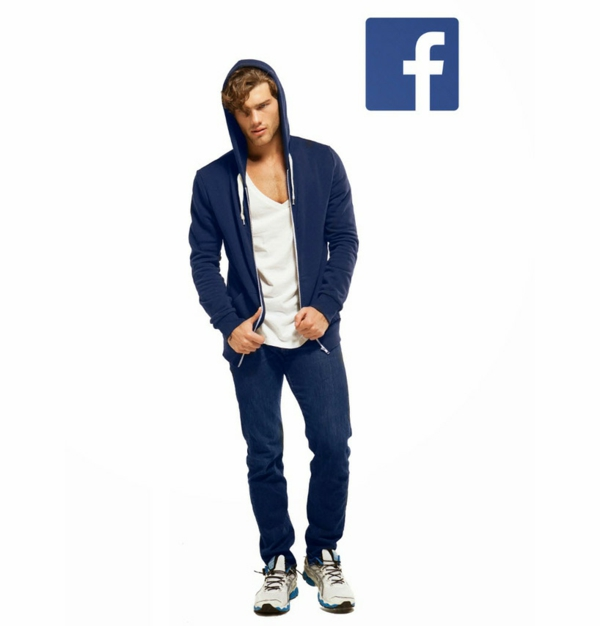 Soziale netzwerke facebook blaue jeans blaue jacke