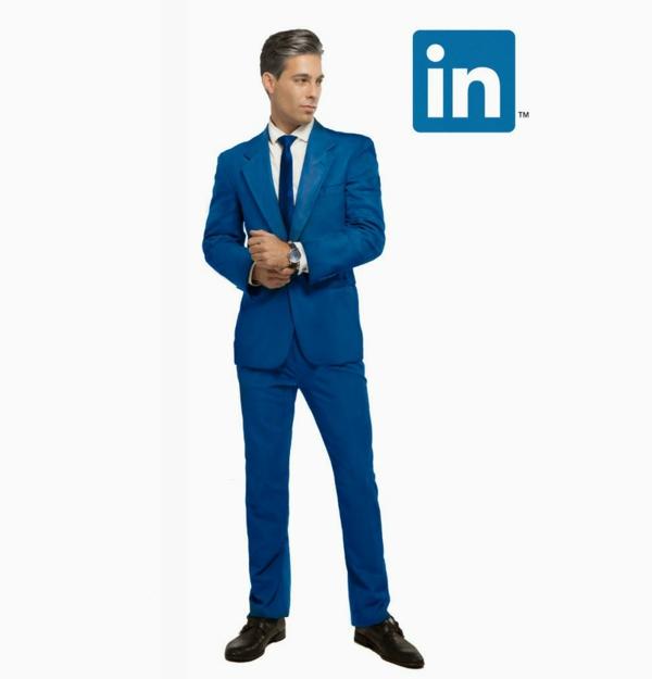 Soziale netzwerke blauer anzug linkedin