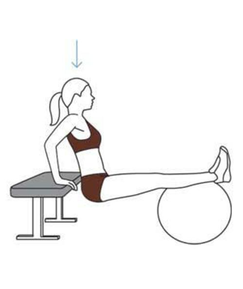 tricepts-dip trainieren mit ball gymnastikball übungen