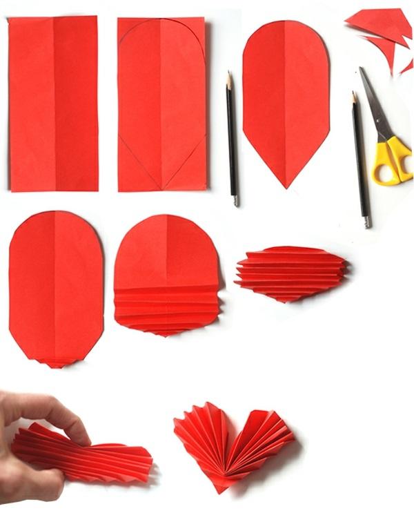 valentinstag basteln mit kindern falten rot