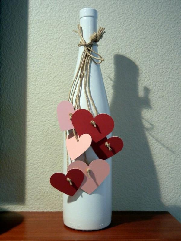valentinstag basteln mit kindern flaschen papier
