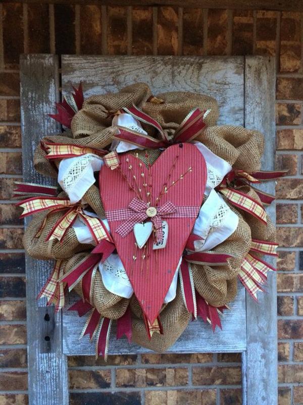 valentinstag basteln mit kindern kranz papier