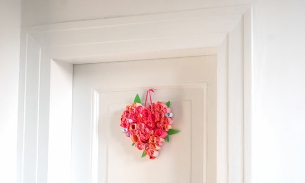 valentinstag basteln mit kindern türkranz