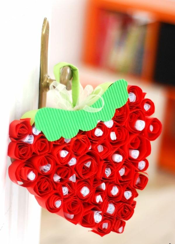 valentinstag frisch geschenke basteln erdbeere