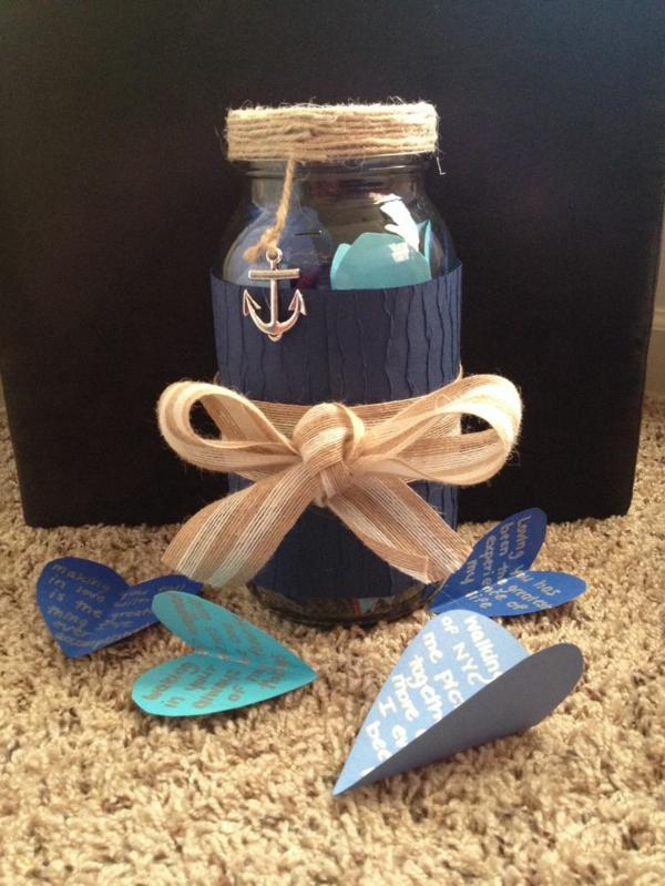 valentinstag geschenke für männer zum selbermachen blau herzformen