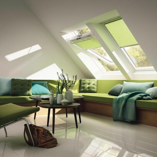 velux-rollos günstig-rollos für velux fenster grün wohnzimmer