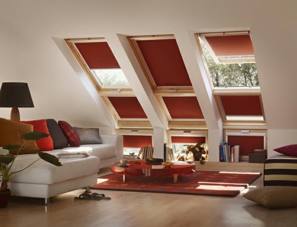 dunkel rote velux rollläden traditionell wohnzimmer einrichtung