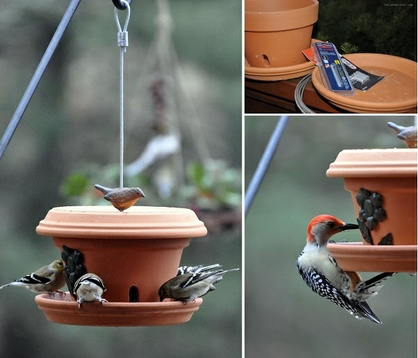 Futterhäuschen für Vögel bauplan vogelhaus untertassen