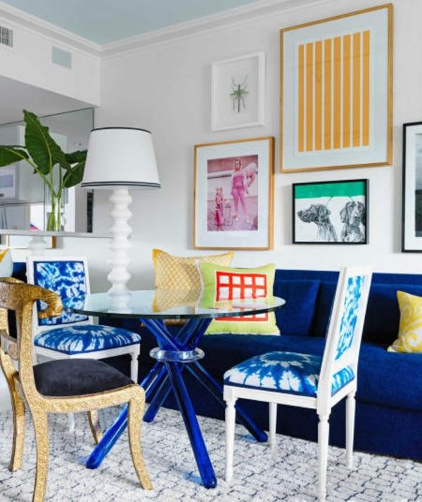 wohnzimmer Innendesign Ideen blau stoffe