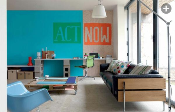wohnzimmer wand Innendesign Ideen blau