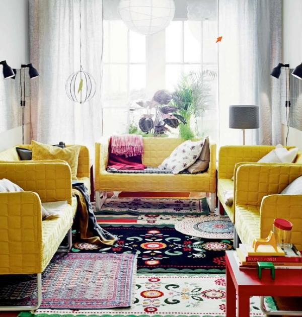 wohnzimmer Innendesign Ideen gelb sofa