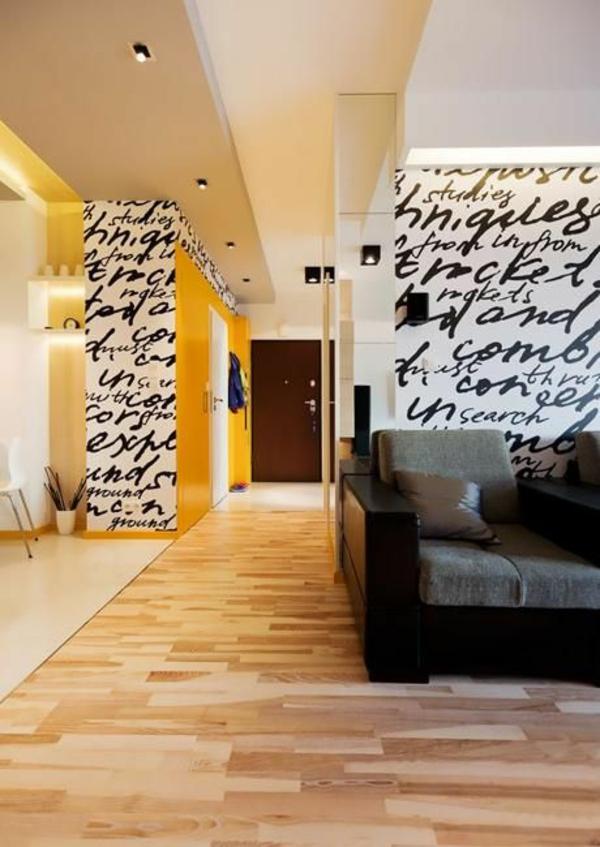 wohnzimmer Innendesign Ideen schriften wand