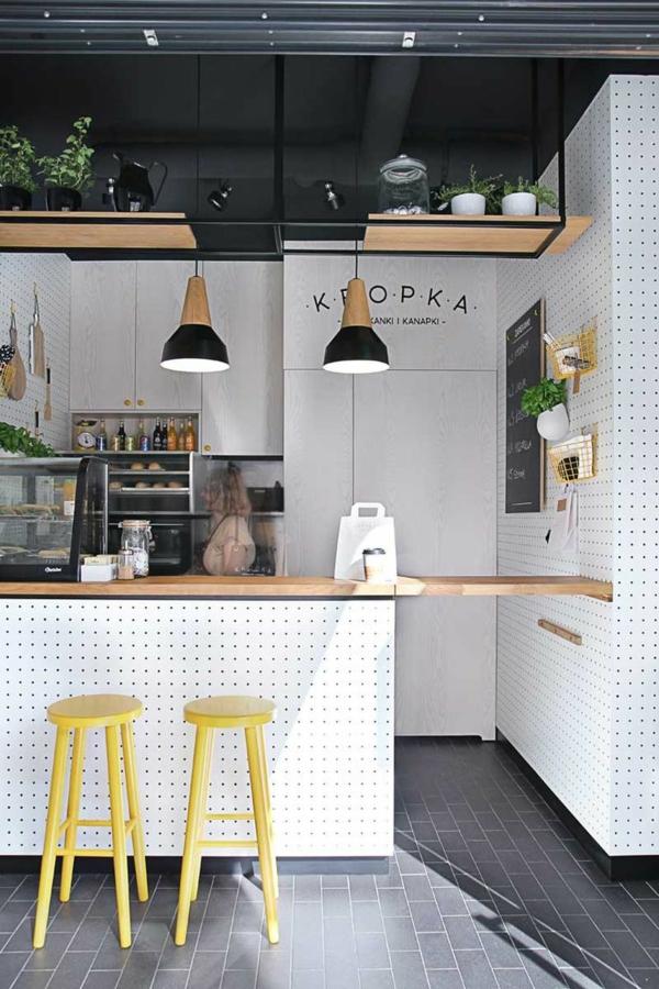 wohnzimmer Innendesign Ideen trends gelb küchenhocker