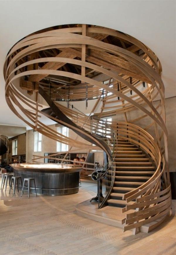Innendesign Ideen wohnzimmer windeltreppe