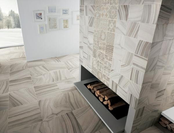 fliesen designs originell brennholz kamin la fabbrica