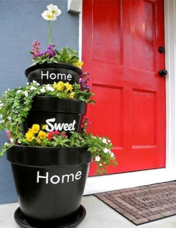 Blumentöpfe für draußen basteln eingang
